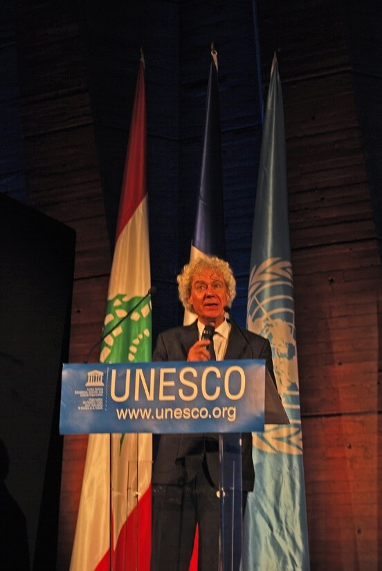 Photograph of Christian Hugonnet presenting The Week of Sound (La Semaine du Son) charter at UNESCO.